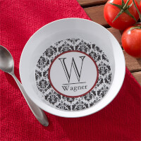 Personalized Melamine Bowl - Damask Family Name..