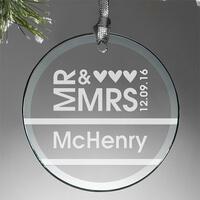 Mr & Mrs Personalized Glass Ornament