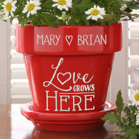 Red Personalized Flower Pots - Love Grows Here