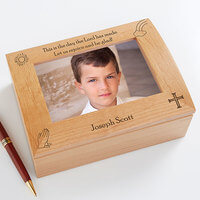 Personalized Boys First Communion Wooden Photo Box