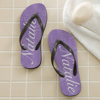 Personalized Ladies Flip Flops - Purple
