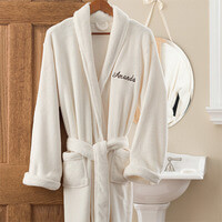 Personalized Fleece Bathrobes - Ivory