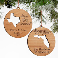 State Of Love Personalized Natural Wood Ornament