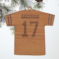 Football Jersey Personalized Natural Wood Ornament