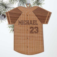 Baseball Jersey Personalized Natural Wood Ornament