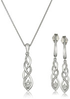 Diamond Twist Earrings And Necklace