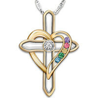 Mothers Cross Necklace With Family Birthstones..