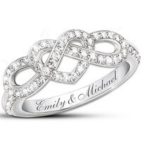 Personalized Lovers Knot Ring With 12 Diamonds