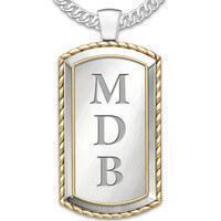 Monogrammed Graduation Dog Tag Pendant Necklace