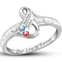 Infinite Love Personalized Couples Birthstone Ring
