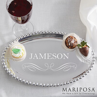 Personalized Oval Serving Tray - Mariposa String..