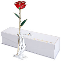 24K Gold Trimmed Long Stem Real Rose With..