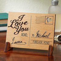 Sending Love Personalized Natural Wood Postcard