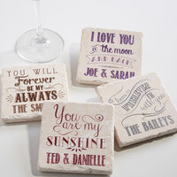 Personalized Stone Coaster Set - Love Quotes