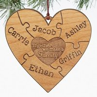Together We Make A Family Natural Wood Ornament