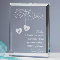 Personalized Romantic Keepsake - Youre All I Need