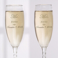 Personalized Crystal Wedding Champagne Flutes -..