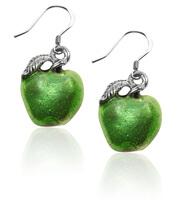 Green Apple Charm Earrings In Silver