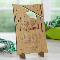 Graduation Greetings Personalized Natural Wood..