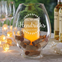 Engraved Glass Hurricane Candle Holder - Wedding