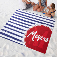 Personalized Beach Blanket - Monogrammed Stripes