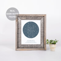 Custom Star Map Print In Barn Wood Frame