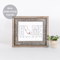 Home Coordinates Print In Barn Wood Frame