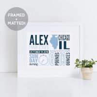 Birth Announcement 2 Color Framed Print