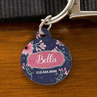 Custom Round Shaped Dog Tags - Floral Designs