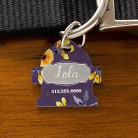 Custom Fire Hydrant Dog Tags - Floral Designs