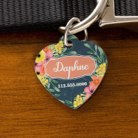 Custom Heart Shaped Dog Tags - Floral Designs