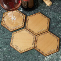 Personalized Wood Coasters - Hexagon Alderwood