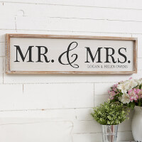 Mr & Mrs Personalized Whitewashed Wood Wall Art..