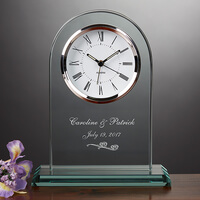 Personalized Glass Wedding Clock - Everlasting..