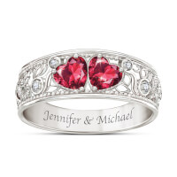 Diamond And Simulated Ruby Personalized Ring..