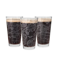 Etched Marathon Pint Glass