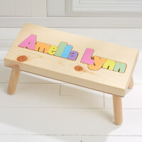Girls Personalized Name Puzzle Stool - Large