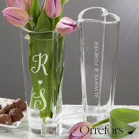 Engraved Crystal Vase - Orrefors Romantic Heart..