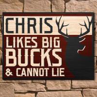 Loves Big Bucks Personalized Wooden Wall Art