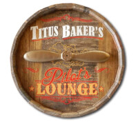 Pilots Lounge Quarter Barrel Sign