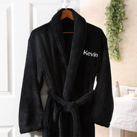 Mens Personalized Spa Robe - Black Microfleece