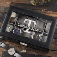 Classic Name 10 Slot Leather Watch Box