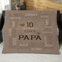 Personalized Fathers Day Woven Throw Blanket -..