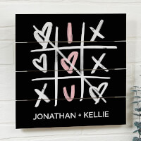 Tic-Tac-Toe Hearts 12x12 Wooden Shiplap Sign