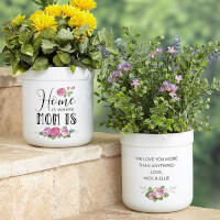 Home Is Where Mom Is Personalized Flower Pot