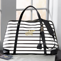 Black & White Stripe Embroidered Weekender Duffel