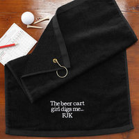 Embroidered Black Personalized Golf Towels - You..