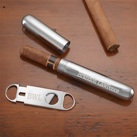 Personalized Silver Cigar Case & Cigar Cutter Set