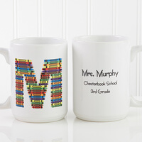 Teachers Personalized Large Coffee Mugs - Crayon..