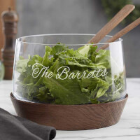 Engraved Glass Salad Bowl - Magnus